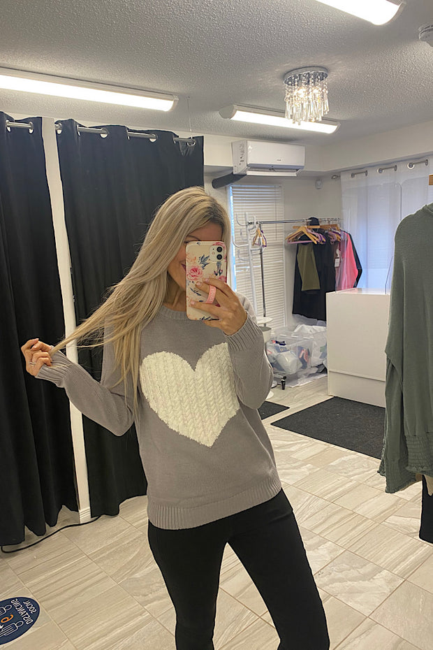 Kind Love Heart Rounded Neck Pullover Sweater-Grey/Ivory