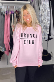 Baby Pink Brunch Club Sweatshirt- Promo