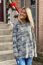 Soft Dreams Camo Green Round Neck Top-New Style
