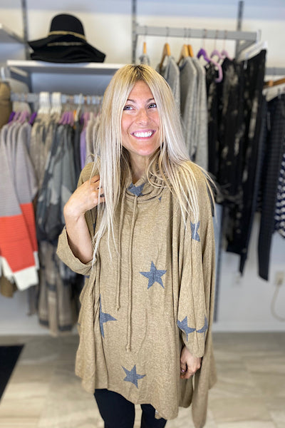 Star Taupe Mix Cowl Poncho Top