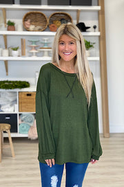 Two Tone Pullover Top-Olive-Promo Line