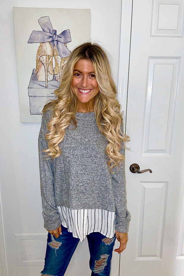 Grey Boss Babe Top