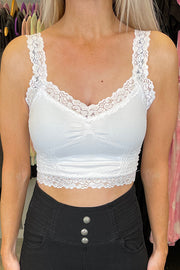 White Popular Crop Corset Lace Cami