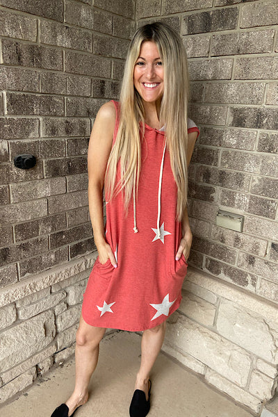 The Stars In My Life Hooded Dress-Vintage Red