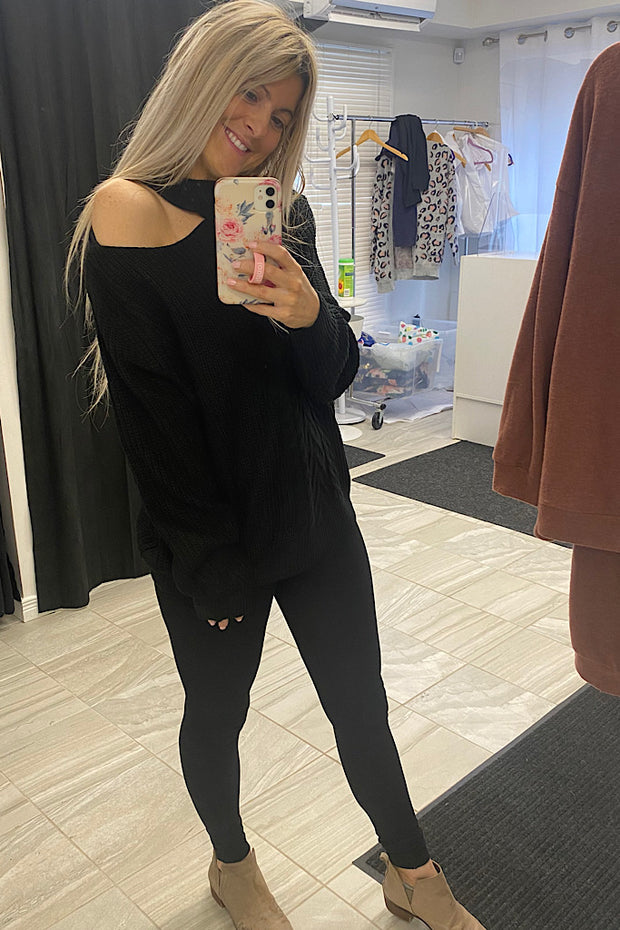 Classy Black Chunky Knit Cut Out Sweater