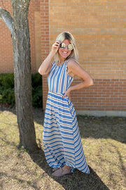 Chambray Striped Soft Brunch Maxi Dress
