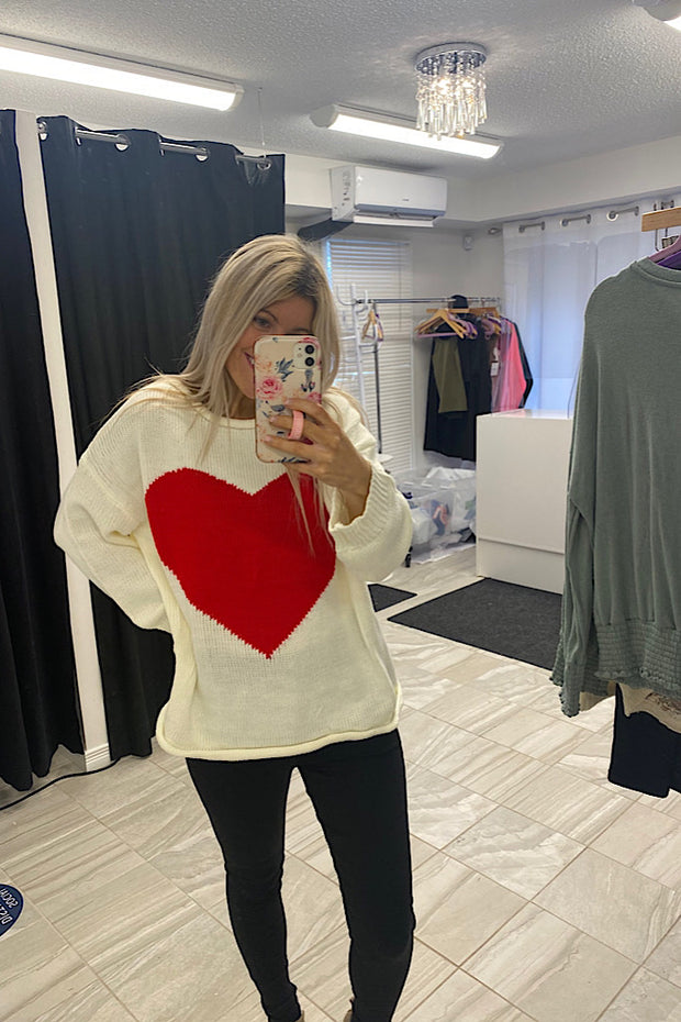 A Beautiful Red Heart Sweater