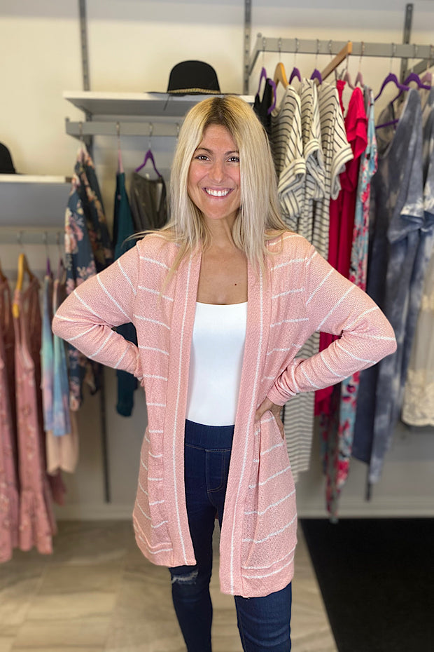 Dusty Pink Lightweight Spring Cardigan