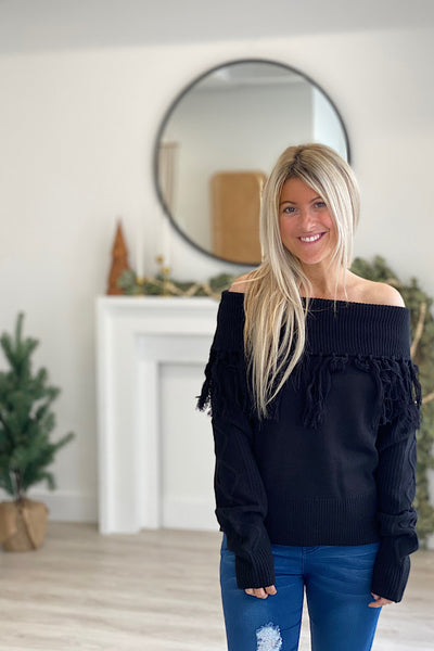 Black Off The Shoulder Fringe Sweater- Promo