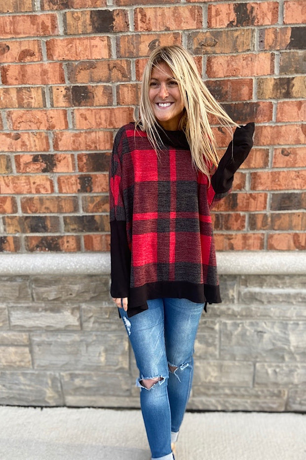 Red Plaid Boho Cowl Neck Top-Clearance