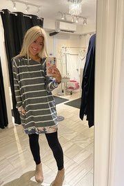 Sweet Darling Floral Striped Contrast Hoodie