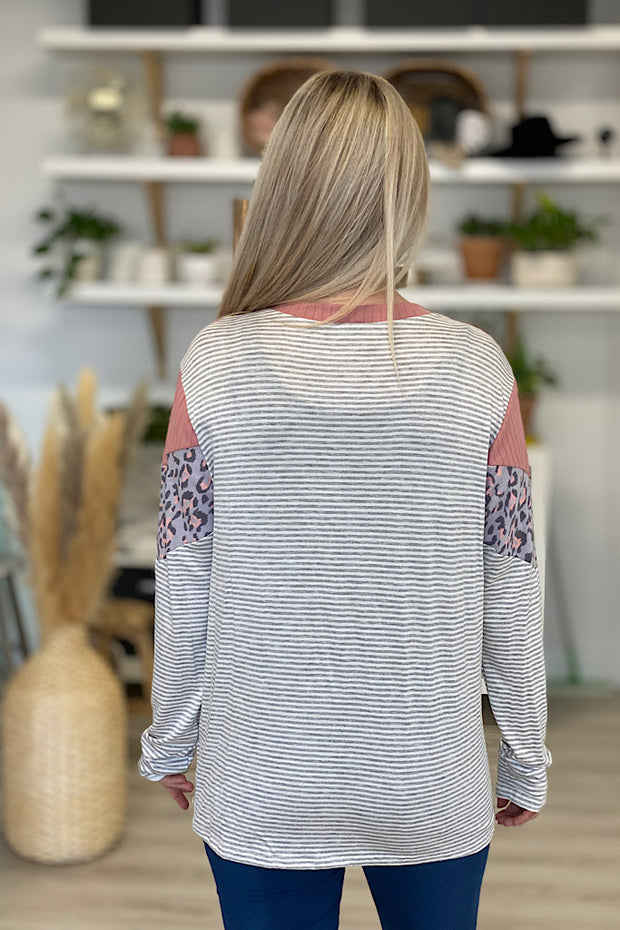 Pretty in Pink Chevron Long Sleeve Top