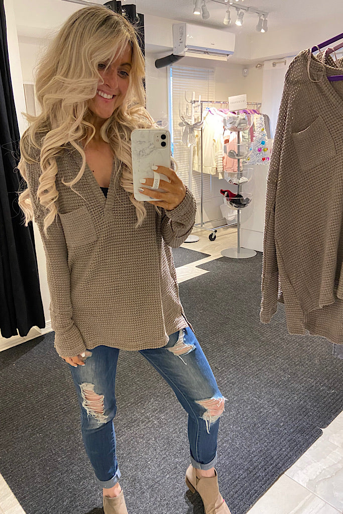 My Year Taupe Waffle Knit V Neck Pocket Top