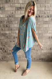 Mint Abstract Mix Boho Knit Tunic