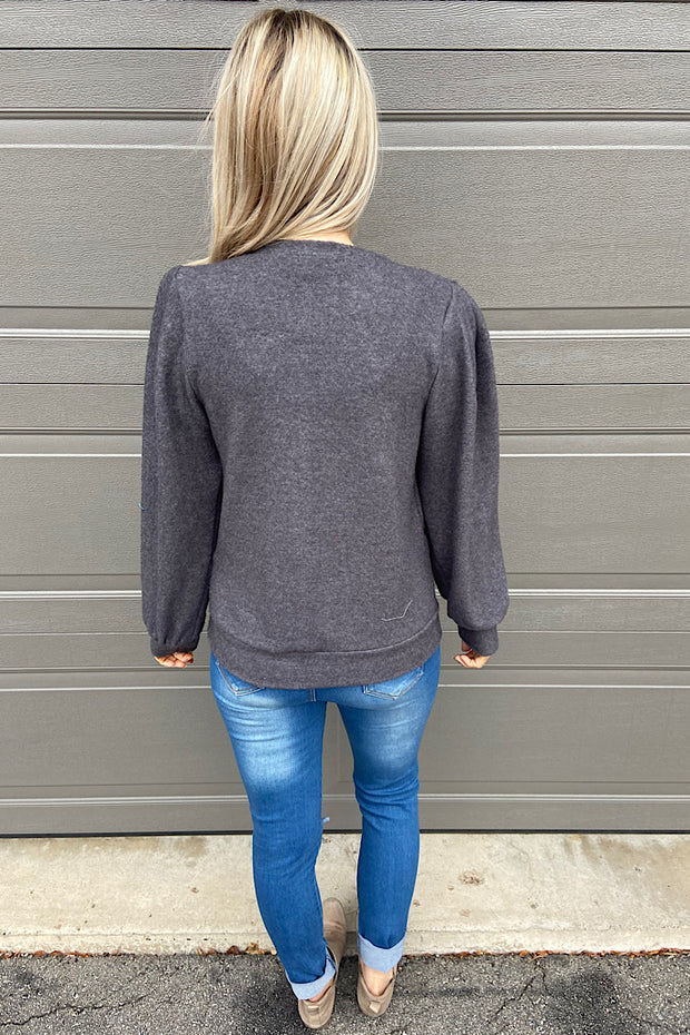 Charcoal Soft Brushed Shoulder Pad Top-Promo