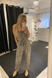 Pre Order Exotic Leopard Tube Strapless Jumpsuit