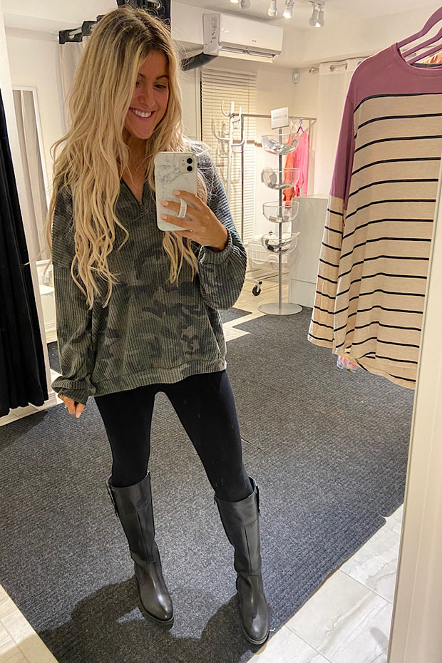Camo Waffle Pullover Sweater
