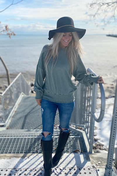 Smocked Obsessed Sage Lightweight Sweater