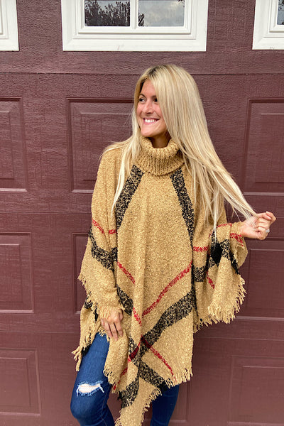 Our Classic Beige Plaid Poncho-Doorbuster