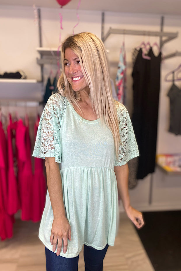 Mint Flutter Lace Sleeve Babydoll Top