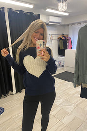 Kind Love Heart Rounded Neck Pullover Sweater-Navy/Ivory