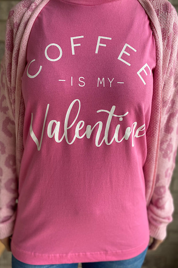 Coffee is My Valentine Graphic T-Shirt-Pink