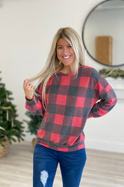 Plaid Pleated Balloon Sleeve Top