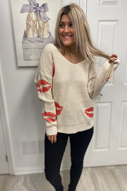 Twist Front And Back Lip Print Sweater