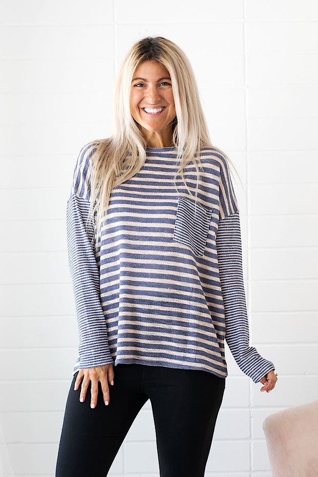 Fresh Air Contrast Stripe Front Pocket Top