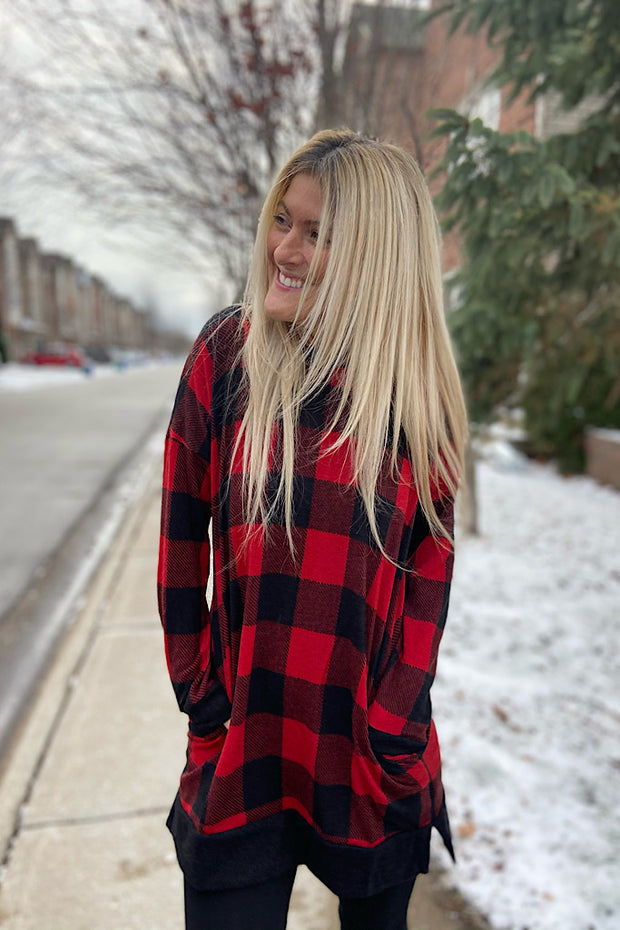 Red Plaid Long Tunic