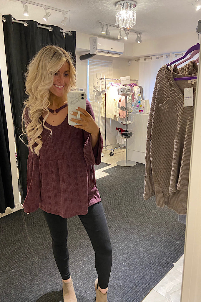 Plum Ribbed Texture Bell Sleeve Top