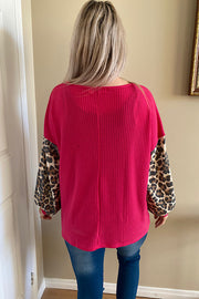 FUCHSIA WAFFLE COLOUR BLOCK ANIMAL TOP