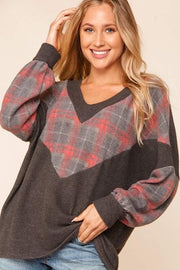Work From Home Cozy Plaid Chevron Top