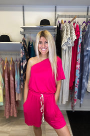 Fuchsia One Shoulder Drawstring Romper