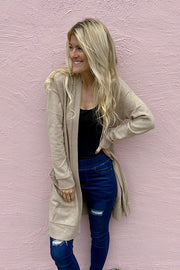 Taupe Soft Brushed Pocket Cardigan