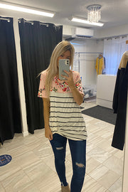 Myra Pink Floral Striped Knot Top-Markdown