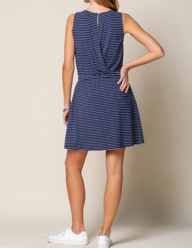The Casual Dream Navy Striped Dress