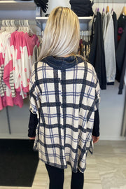 Vintage Plaid Boho Cowl Neck Top-Oatmeal Mix