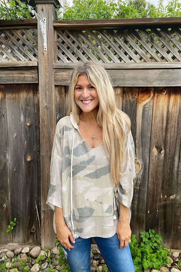 Adorable Camo Kangaroo Pocket Summer Sweater
