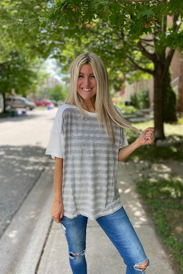 Contrast Striped French Knit Top