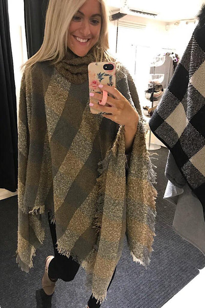 Beige Brown Mix Turtleneck Poncho-Promo Line