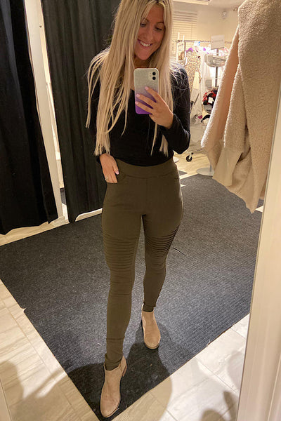 Olive Green Moto Jeggings