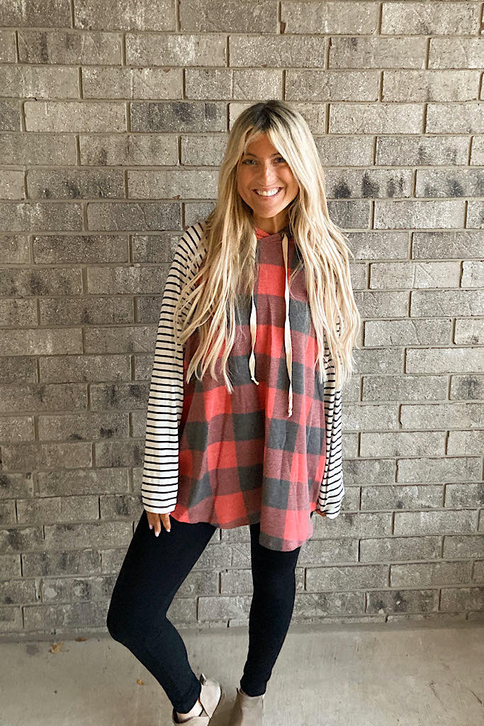 Plaid Striped Bestie Weekend Hoodie-Flash Sale