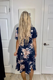 Pre Order The Stephanie Blue Floral Midi Dress