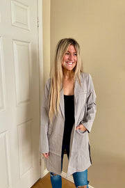 Brighter Days Grey and White Boss Babe Blazer