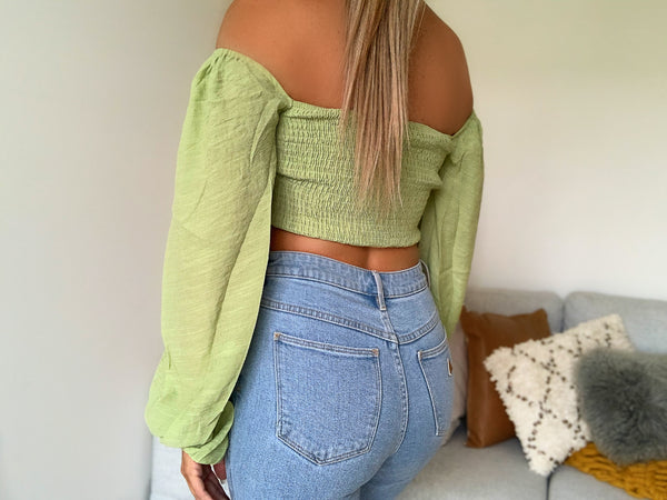 LAYLA OFF THE SHOULDER CROP - GREEN