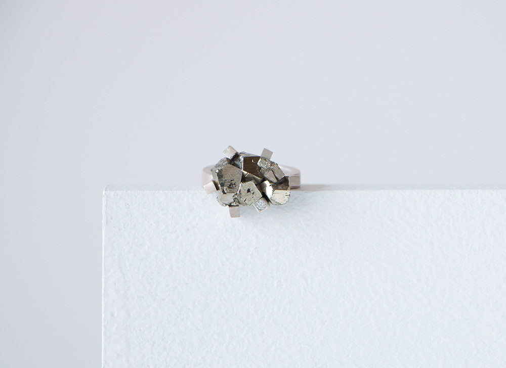 Sterling Silver Pyrites & Moissanite Ring