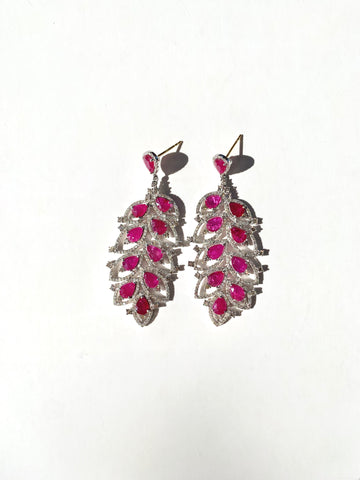 Ruby Silver Earrings with Diamonds