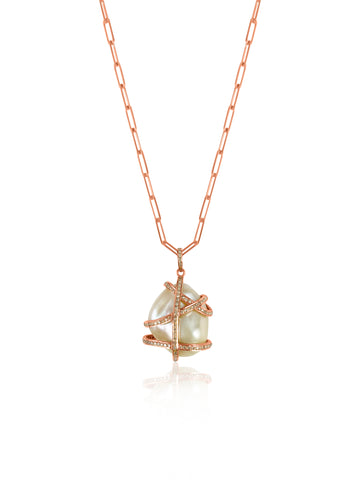 Baroque Pearl Necklace Rose Gold with Diamonds Paper clip chain