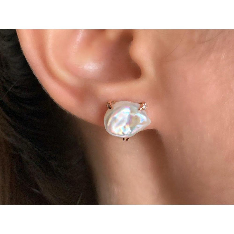 14K Rose Gold Earrings with Baroque Pearls and Diamonds